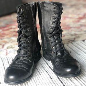 Steve Madden Troopa Black Leather
